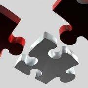 3D-Puzzleteile in Rot und Silber